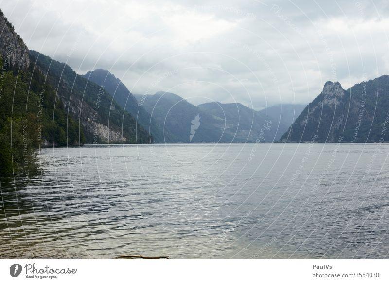 Traunsee Blick richtung Ebensee unterhalb des Traunsteins Ufer Traunseeufer See bewölkt Wasser Salzkammergut Österreich Ostalpen Urlaub Berge u. Gebirge Natur