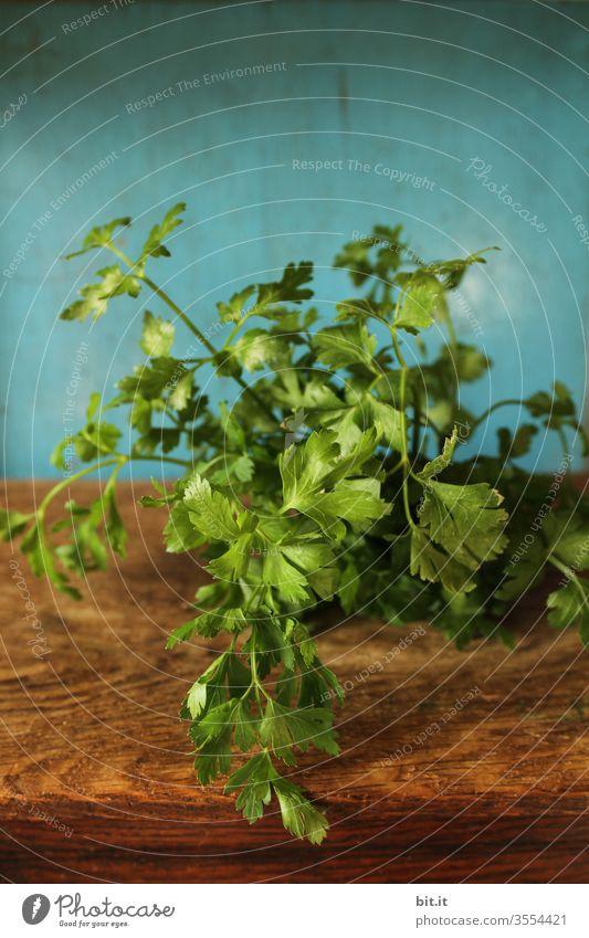 Frische, gesunde, grüne Stengel der Petersilie liegt bereit zum Schneiden, Hacken auf einem braunen Holzbrett, vor blauem Hintergrund. Biologische, gesunde, würzige, ungespritzte Peterle aus Eigenanbau, auf altem, urigem Schneidebrett im rustikalen Stil.