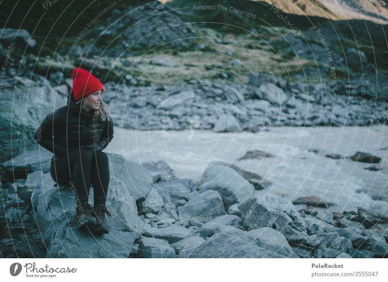 #As# waiting for the sun wanderweg Gipfel Fernweh Outdoor Frau weiblich Weiblichkeit Kraft Tourismus Neuseeland Landschaft Berge u. Gebirge