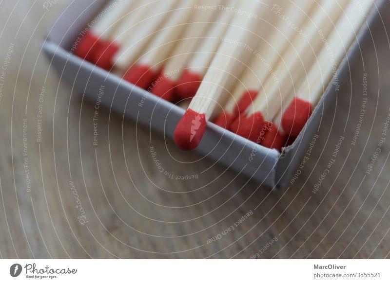 Rote Streichhölzer in Streichholzschachtel rote streichhölzer streichholz feuer streichholzschachtel hölzern brennbar gefahr heizen makro entzünden anbrennen