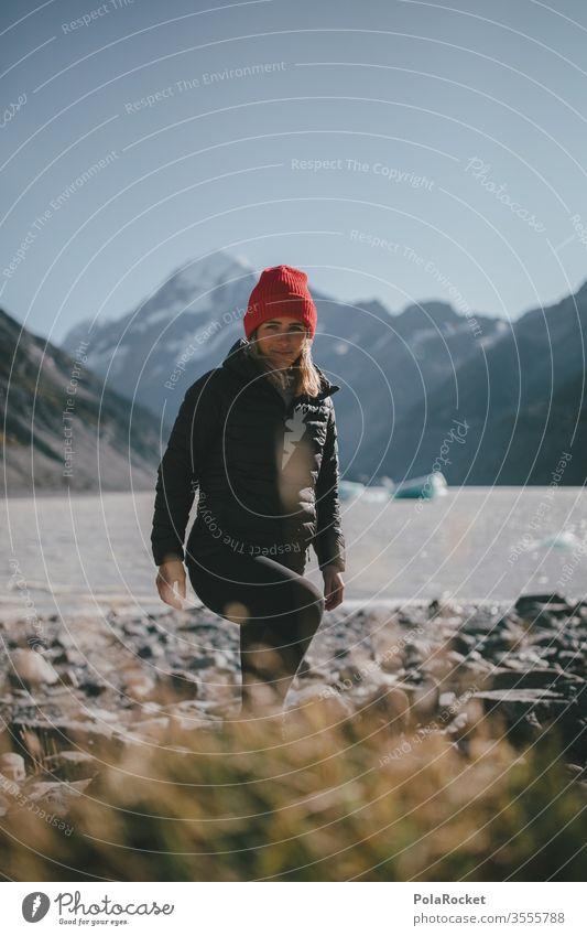 #As# Am Morgen am Eissee Wanderweg Gipfel Fernweh im Freien zwängen Weiblichkeit feminin Frau Tourismus Neuseeland Landschaft Berge u. Gebirge Außenaufnahme