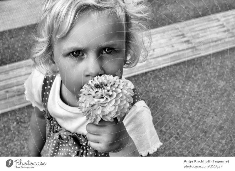 Kinderaufgen - Kinderseelen Mensch feminin Kleinkind Mädchen Schwester Kindheit 1 3-8 Jahre Blume Kleid festhalten blond schwarz weiß Gefühle Schwarzweißfoto