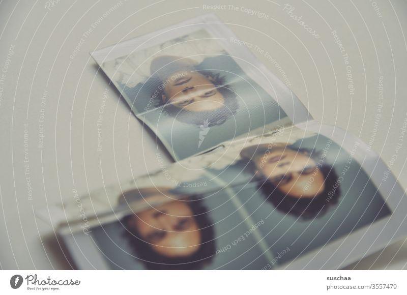 3 mal das gleiche passbild einer jungen frau Frau Mädchen Foto Passbild Passbildautomat geknickt kaputt alt retro Erinnerung Jugend Vergangenheit Nostalgie