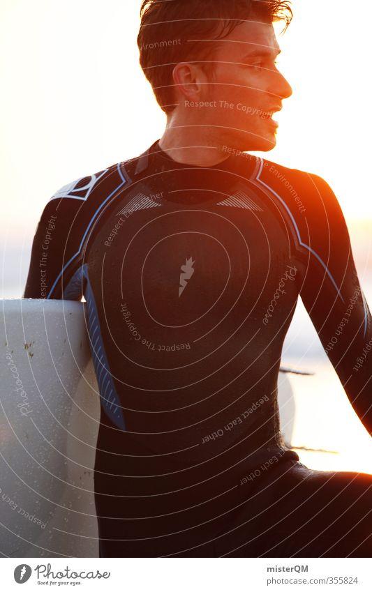 Light Surfer. Mensch 1 ästhetisch Zufriedenheit Surfen Surfbrett Surfschule Portugal Extremsport Wassersport Fitness sportlich Sonnenstrahlen Gegenlicht
