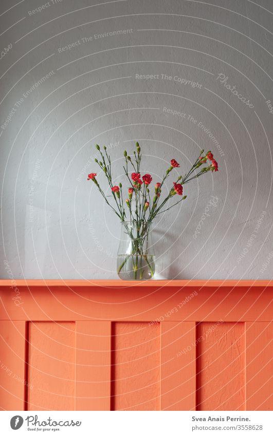 Blumen Blumenstrauß Innenaufnahme Design grau orange Vase Inneneinrichtung Wohnung wohnen Wohnzimmer Sommer Frühling farbenfroh Farbe Wasser