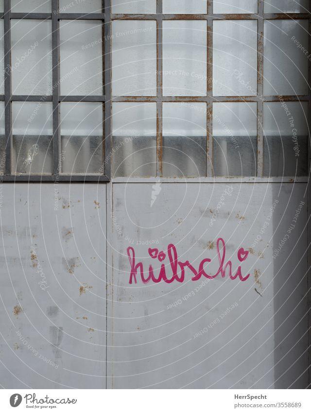 Hübsch, oder? Tor Eingangstor Fenster Metalltür Schriftzeichen Außenaufnahme geschlossen Haus alt hübsch rosa Aufschrift Meinungsäußerung Glasscheibe