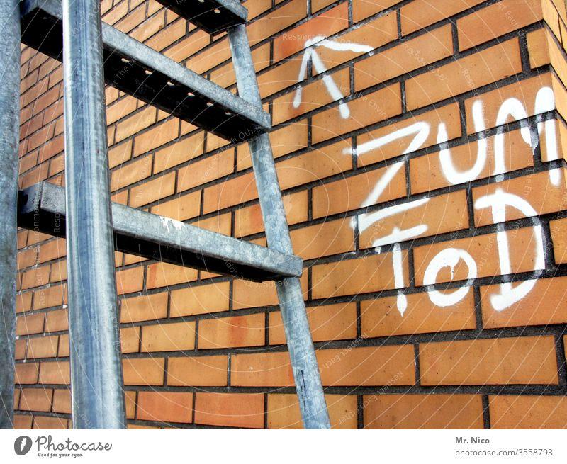 Suizidgefahr Leiter Treppe Tod fallen Wand aufsteigen Absturz Leitersprosse Sturz Höhenangst abwärts Gebäude Fall Mauer Graffiti Pfeil Richtung richtungweisend
