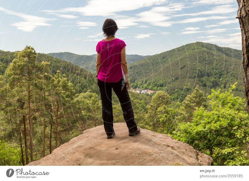 Rückansicht einer Frau die auf einem Felsen steht und die schöne Aussicht auf den Pfälzer Wald bewundert Pfälzerwald Sommer Urlaub Ausflug Wandern Wanderung