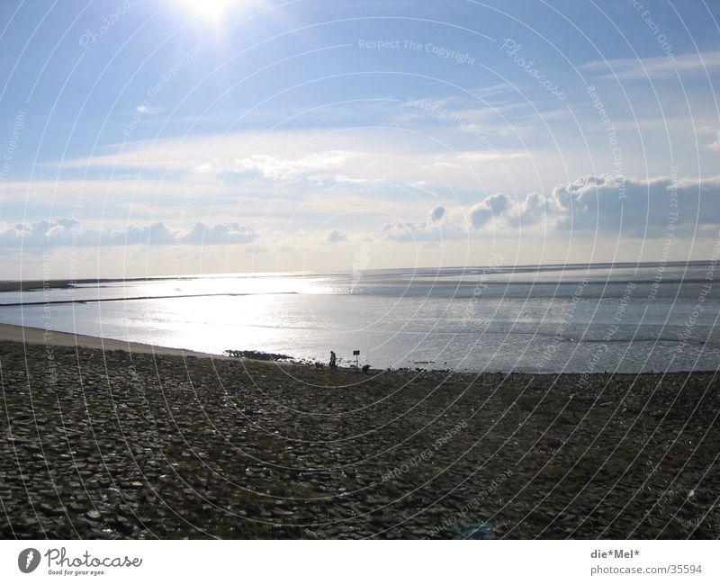 Fernweh Meer ruhig Sonnenuntergang Licht Wolken Einsamkeit Strand Wasser Nordsee blau hell