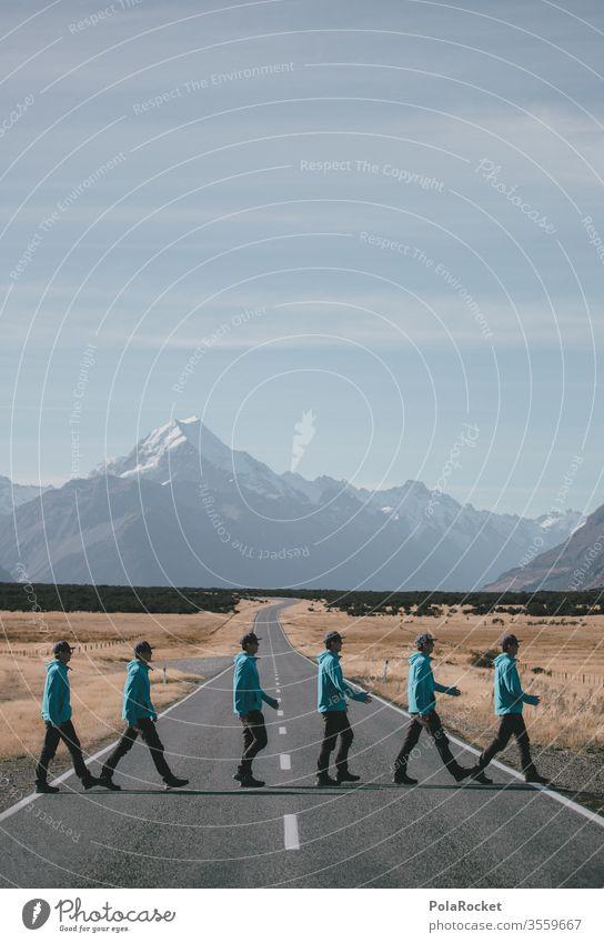 #As# Überläufer Neuseeland Neuseeland Landschaft Straße Collage Kreativität kreativ laufen wandern Bewegung Wanderung Outdoor Überqueren blau Straßenkunst