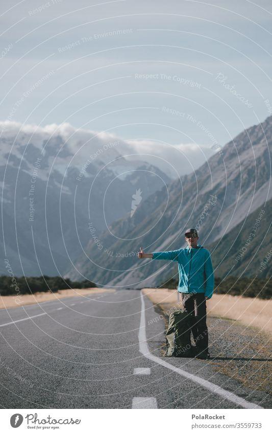 #As# Trampen trampen tramper per anhalter fahren Neuseeland Neuseeland Landschaft Mount Cook Straße Daumen hoch warten reisen günstig kostenlos