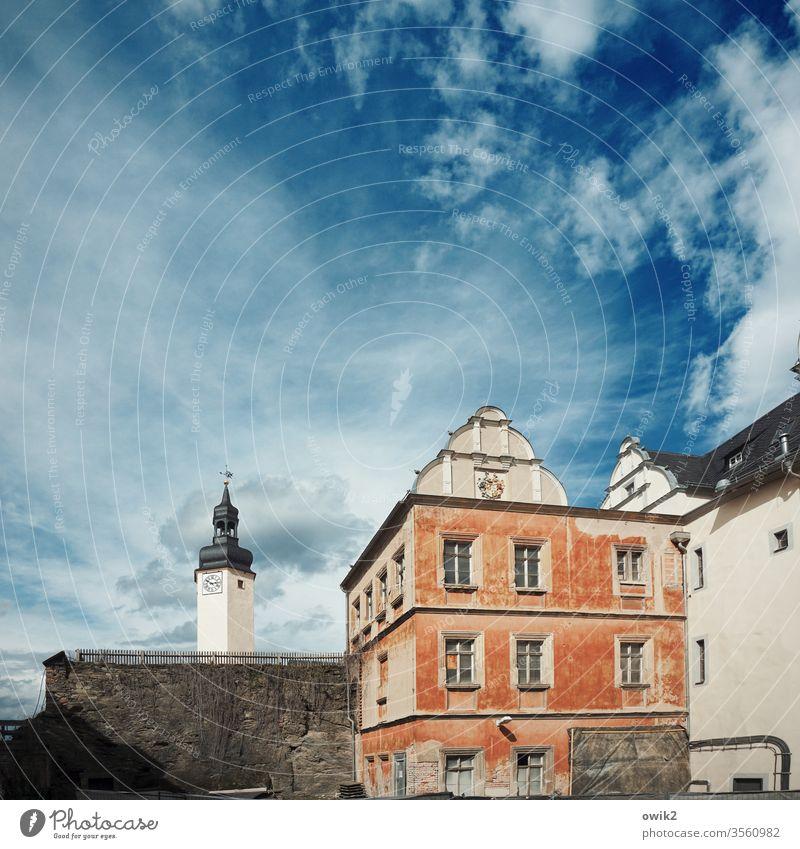 Greiz Schloss Turm Haus alt Schlossberg Thüringen Ostdeutschland Burg oder Schloss Außenaufnahme Farbfoto Tag Menschenleer Architektur Fenster Altstadt Himmel