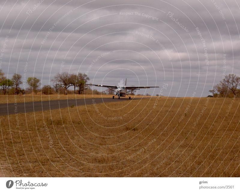 Flugzeug im Anflug Savanne Steppe Landebahn