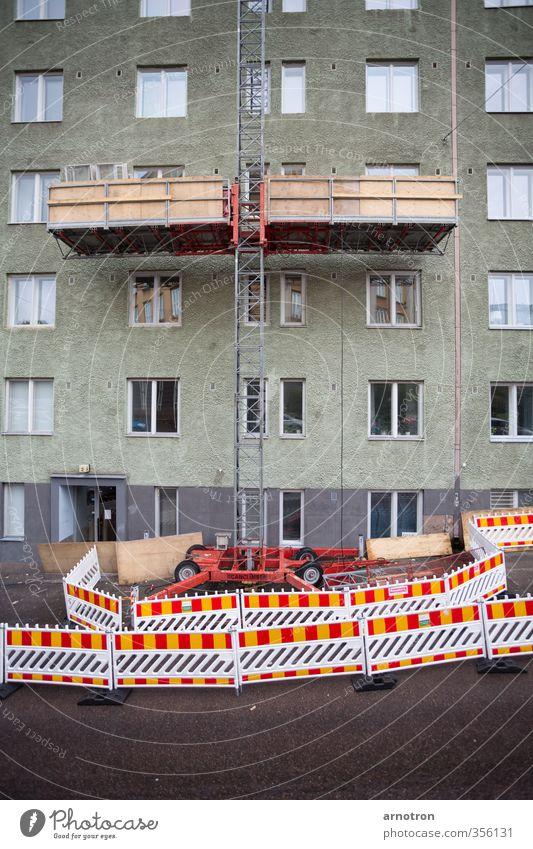 Up or Down? Handwerker Baustelle Leiter Baugerüst Fahrstuhl Technik & Technologie Stein Schilder & Markierungen Arbeit & Erwerbstätigkeit bauen mehrfarbig gelb