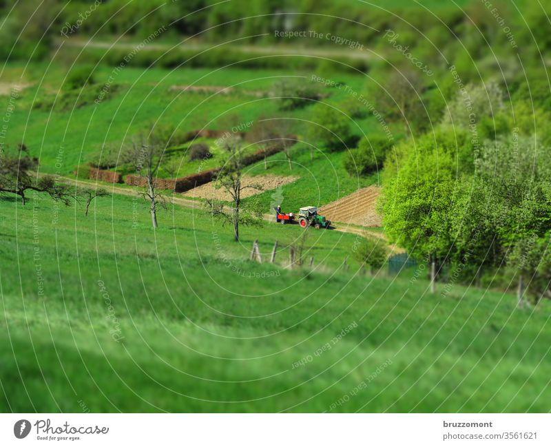 Traktor auf dem Feld Tilt-Shift Landwirtschaft Tal Wiese Bäume Frühjahr Bauer Natur