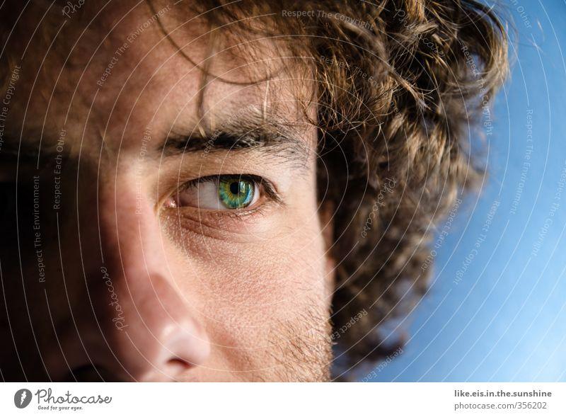 into the blue II Mensch Mann Jugendliche blau grün Einsamkeit Erwachsene Gesicht Junger Mann Auge Leben 18-30 Jahre Haare & Frisuren Denken Kopf maskulin