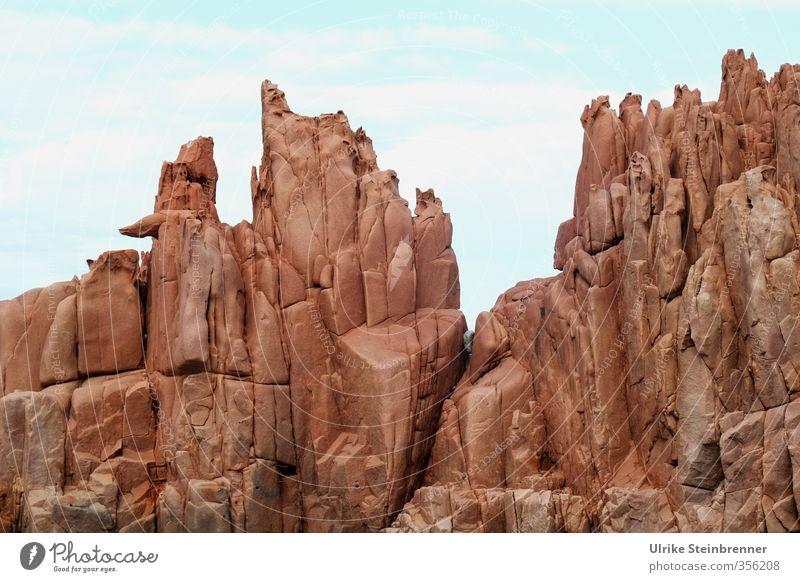 Rote Riesen 1 Ferien & Urlaub & Reisen Tourismus Ausflug Umwelt Natur Landschaft Himmel Frühling Schönes Wetter Felsen Küste Bucht Insel Sardinien Arbatax
