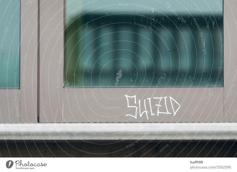 Schriftzug Suizid an Fassade suizidgedanken Suizidgefahr Traurigkeit Tod Schriftzeichen Graffiti Mauer Buchstaben Selbstmord bedrohlich Trauer Zukunftsangst