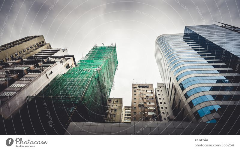 Hong Kong Stadt Gebäude Architektur Stimmung Angst Business Fassade Kraft Häusliches Leben Hochhaus modern Wachstum Perspektive Macht Wandel & Veränderung Asien