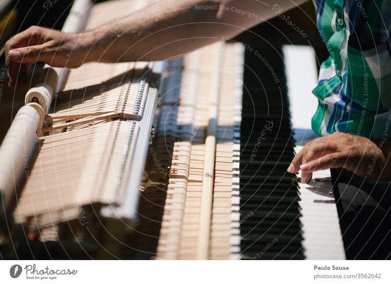 Klavierstimmer mit Klavierbefestigung Pianist Pianotastatur Melodie Musik Keyboard Klavier spielen Konzert Musikinstrument Musiker Innenaufnahme Hand