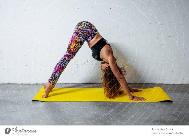 Frau praktiziert Yoga auf der Matte Pose üben nach unten gerichteter Hund adho mukha svanasana Unterlage Körperhaltung positionieren Gleichgewicht beweglich