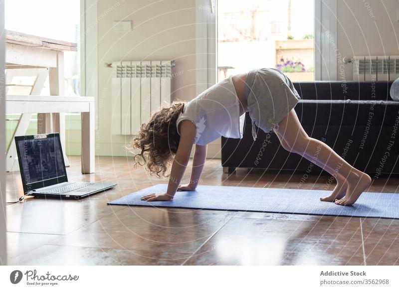 Kind, das zu Hause eine Yoga-Asana ausführt online Laptop Hund abwärts üben heimwärts Mädchen adho mukha svanasana Video Tutorial lernen Pose Gerät Apparatur
