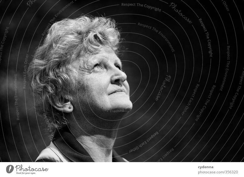 Blick nach oben Mensch Frau Natur Erwachsene Gesicht Umwelt Leben Senior Freiheit Gesundheit träumen wandern Perspektive Ausflug Zukunft 45-60 Jahre