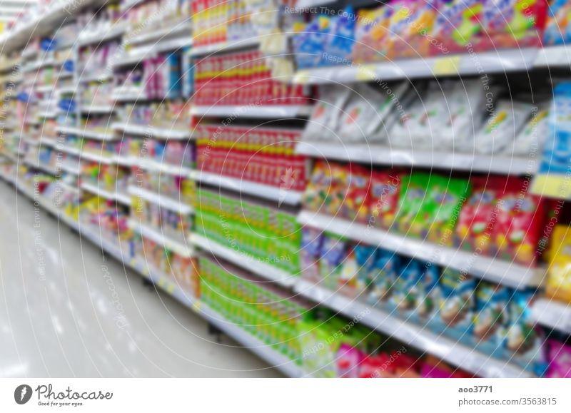 Unscharfer Supermarkt Überfluss Hintergrund Tasche groß Unschärfe Gebäude Business kaufen Wahl Gewerbe Unternehmen Zusammensetzung Verbraucher Konsum Gang Kiste