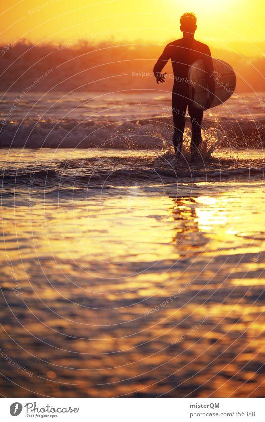 Gold Runner. Lifestyle elegant Stil exotisch Freizeit & Hobby Kunst Abenteuer ästhetisch Zufriedenheit Surfen Surfer Surfbrett Surfschule Sonnenuntergang