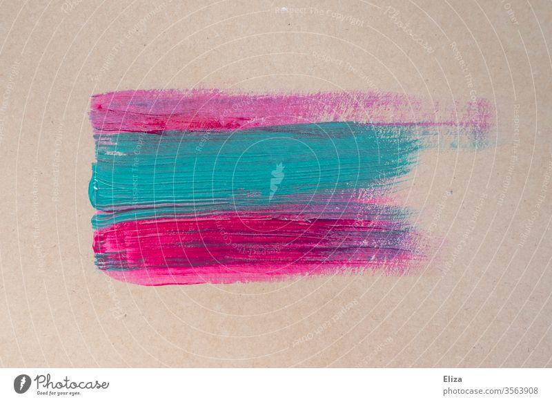 Rosa und hellblaue Pinselstriche auf beigem Hintergrund. Malerei. Kreativität. rosa Farbe Acrylfarbe Kunst malen abstrakt Striche Struktur textur mehrfarbig
