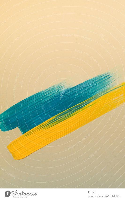 blaue und gelbe Pinselstriche auf beigem Papier grafisch Formen Striche Farbe Kunst Malerei graphisch abstrakt Strukturen & Formen Streifen Muster Design