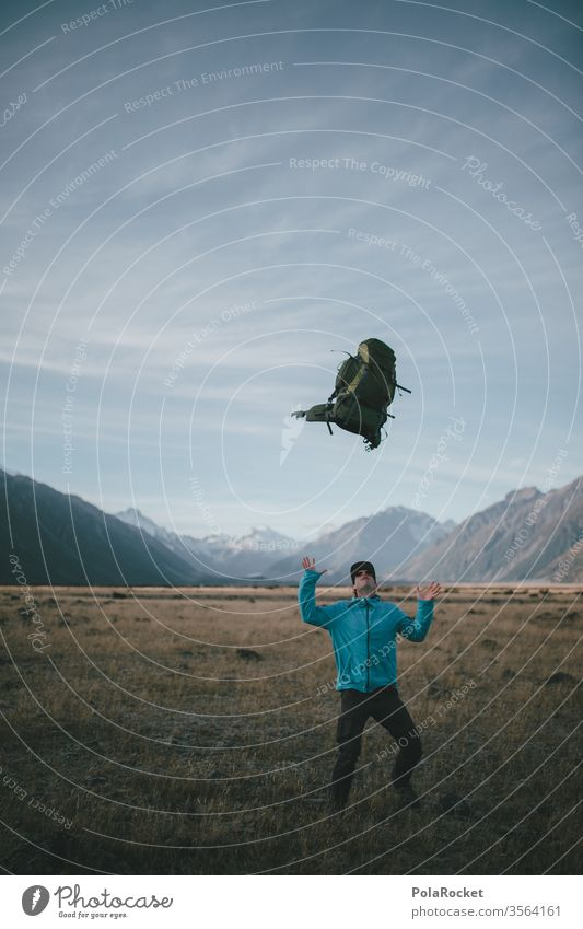 #AS# Backpackerfreuden Rucksack Rucksacktourismus Rucksackurlaub Freude fangen hoch Berge u. Gebirge Ausflug Natur Abenteuer Umwelt Farbfoto