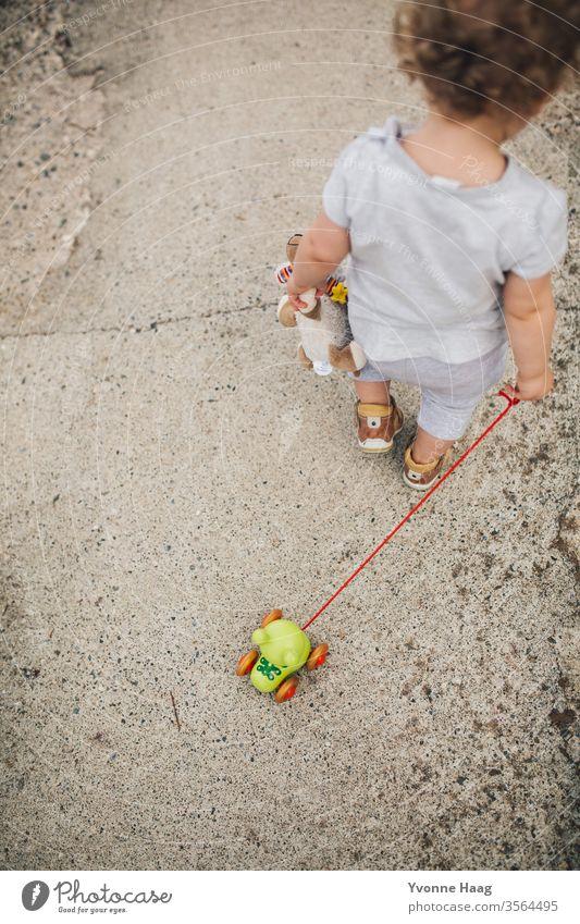 Kleinkind geht mit ihrem Froschspielzeug spazieren Strand Himmel Küste Wolken Farbfoto Natur Wind Außenaufnahme Landschaft Wasser schlechtes Wetter Klima Umwelt