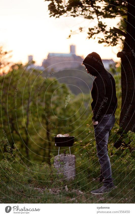 Grill gut Mensch Natur Jugendliche Ferien & Urlaub & Reisen Sommer Erholung Landschaft ruhig Wald Erwachsene Junger Mann Berge u. Gebirge Leben 18-30 Jahre