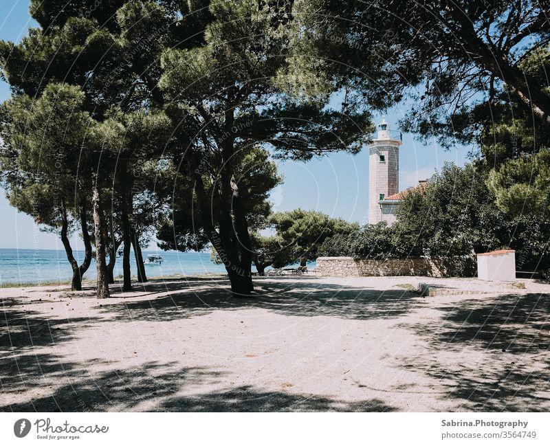 Stillgelegter Leuchtturm, der heute ein Hotel ist, an einem Strand auf der Insel Vìr, Kroatien Pinie Europa Meer Küste Ferien & Urlaub & Reisen Sommer