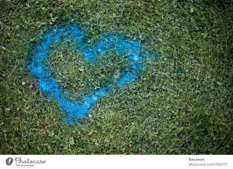 abwaschbar. Feste & Feiern Valentinstag Erde Gras Park Wiese Herz blau grün Liebe Liebesaffäre Vergänglichkeit Zerstörung Farbfoto Außenaufnahme Menschenleer