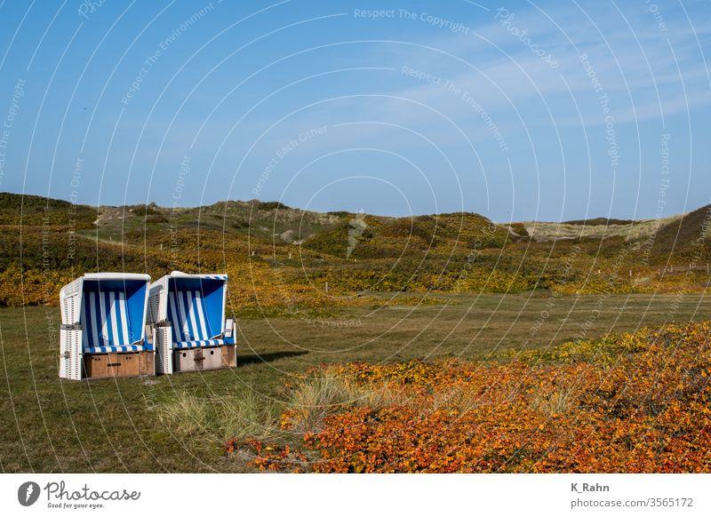 Strandkorb in den Dünen meer strand wasser pfeiler himmel landschaft ozean see natur sonne küste brücke reisen holz wolken horizont blau gelassenheit sylt insel