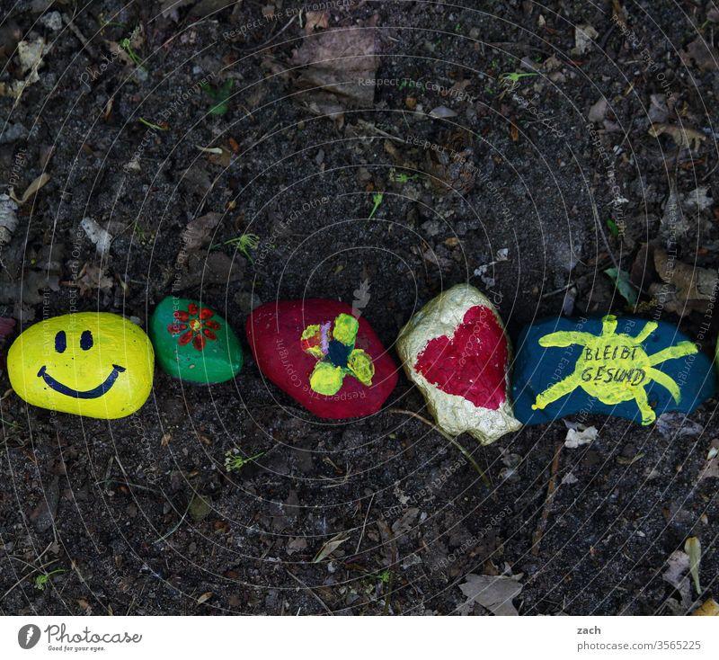 Coronasteine von Kindern gemalt mit der Aufschrift bleibt gesund Hoffnungsschimmer bemalt malen Kindheit bunt Zusammensein Zusammenhalt covid-19 Epidemie