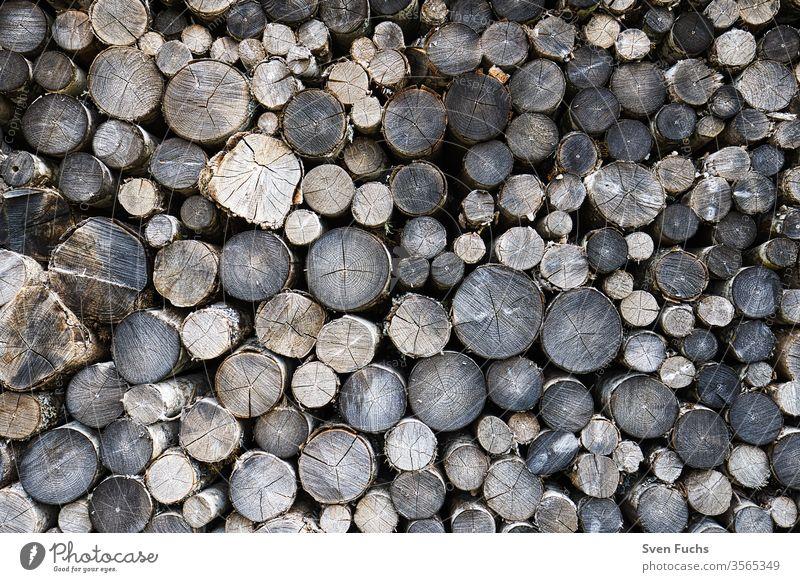 Aufeinander gestapelte Rundhölzer an einem Waldweg holzstämme holzscheite brennholz regenerative energie erneuerbare energie naturprodukt rohstoff rund