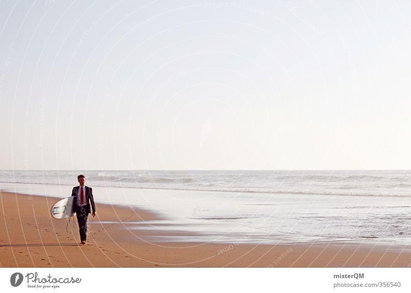 Surfer's Walk I Ferien & Urlaub & Reisen Meer Erholung Strand Sand Horizont Kunst Business Wellen Zufriedenheit laufen ästhetisch Pause Anzug Reichtum Surfen