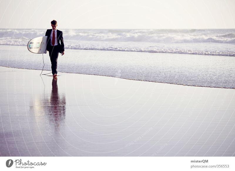 Surfer's Walk II Himmel Mann Jugendliche Ferien & Urlaub & Reisen Meer Erholung Strand außergewöhnlich Kunst Business maskulin Wellen Zufriedenheit laufen