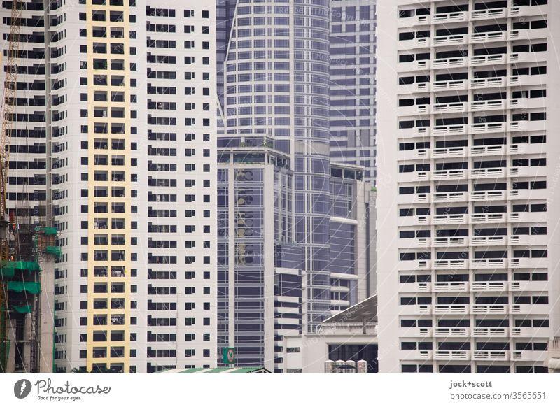 Welt der Fassaden in der Großstadt Bangkok Stadtzentrum Hauptstadt Bürogebäude modern Symmetrie Strukturen & Formen großstadtdschungel Gedeckte Farben