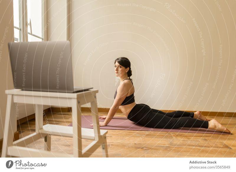 Konzentrierte Frau macht zu Hause Yoga auf dem Boden Kobra-Pose beweglich Konzentration heimwärts bhujangasana Übung Laptop benutzend Unterlage Fokus