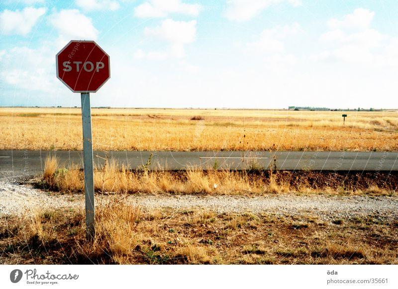 STOPP Himmel Straße Wege & Pfade Landschaft Schilder & Markierungen stoppen Mischung Halt
