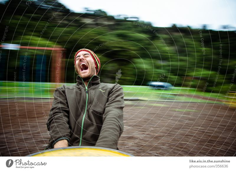 uuuuaaaaaaaaaaaaaaaa (II) Freude Glück Leben Erholung Freizeit & Hobby Spielen Mensch maskulin Junger Mann Jugendliche Erwachsene 18-30 Jahre Spielplatz Mütze