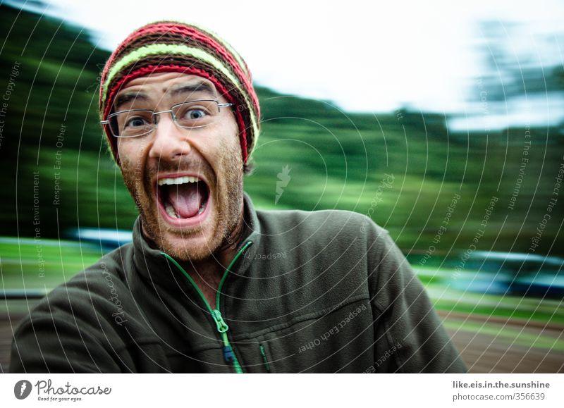 uuuaaaaaaaaaaaa! maskulin Junger Mann Jugendliche Erwachsene Leben 1 Mensch 18-30 Jahre Brille Erholung schaukeln Spielen toben grün Freude Coolness