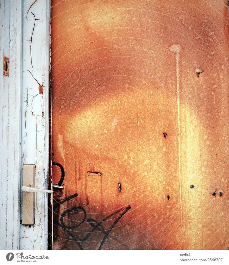 Brandschutztür Tür alt trashig türklinke Graffiti Menschenleer Farbfoto Außenaufnahme Tag Wand Holz Tor Vergänglichkeit Textfreiraum oben Textfreiraum rechts
