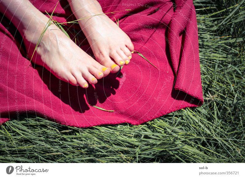 Sommerfüße Freude Nagellack Erholung Ferien & Urlaub & Reisen Sommerurlaub Sonnenbad Mensch feminin Junge Frau Jugendliche Erwachsene Fuß 1 13-18 Jahre Kind