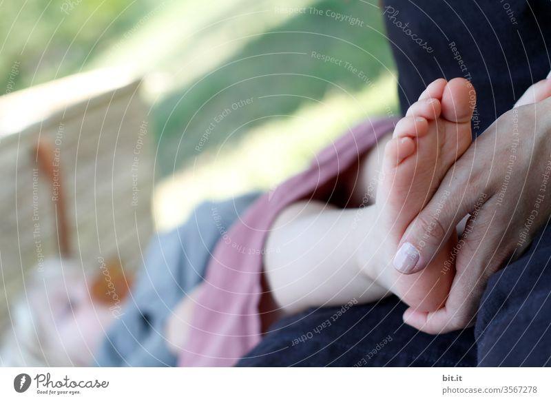 Hand der Mutter hält zärtlich, fürsorglich, liebevoll den nackten Fuß, des schlafenden Kindes mit Schnuller, während des Einschlafen, draussen am Schlafplatz in der Natur. Das Kleinkind schläft auf einer Wiese im Garten und träumt friedlich.