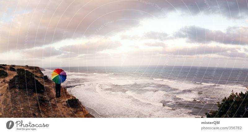 Portuguese Rainbow. Meer Ferne Reisefotografie Freiheit Küste außergewöhnlich Kunst ästhetisch einzigartig Kreativität Idee Regenschirm Panorama (Bildformat)